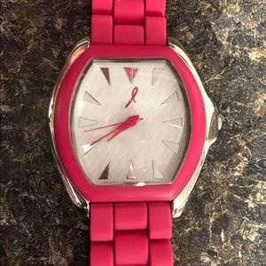breast cancer support silicone strap watch pink